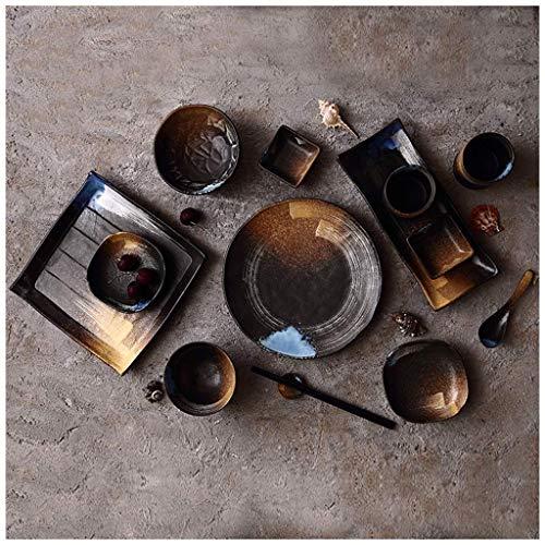 WCS Assortir Personnalité Créative Style Japonais Grès En Grès Sous Réduction De Glace Four À Flammes Céramique Poterie Plat Vaisselle Assiette Bol Cuillère (Color : K)