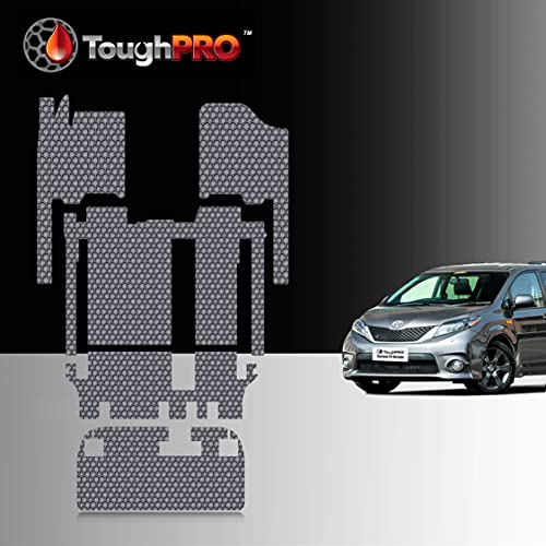 TOUGHPRO Floor Mat Accessories Full Set + Storage Compatible with Toyota Sienna (8 Seater) - All Weather - Heavy Duty - Gray Rubber - 2011, 2012, 2013, 2014, 2015, 2016, 2017, 2018, 2019, 2020