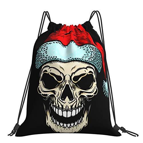 Nicegift Skull Sports Fitness Mochila con cordón para ocio al aire libre