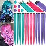 Fcysws 12 piezas extensiones de cabello de colores 21 pulgadas peluca de pelo liso sintético...