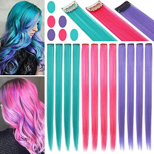 Fcysws 12 piezas extensiones de cabello de colores 21 pulgadas peluca de pelo liso sintético resistente al calor postizo mujeres niñas regalo de fiesta (Azul Rojo Rosa Morado)