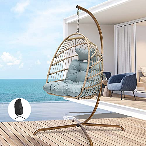 Swing Egg Chair with Stand Indoor Outdoor Wicker Rattan Patio Basket Hanging Chair with UV Resistant Cushions Aluminum Frame 350lbs Capaticy for Bedroom Balcony Patio (Blue with Cover)