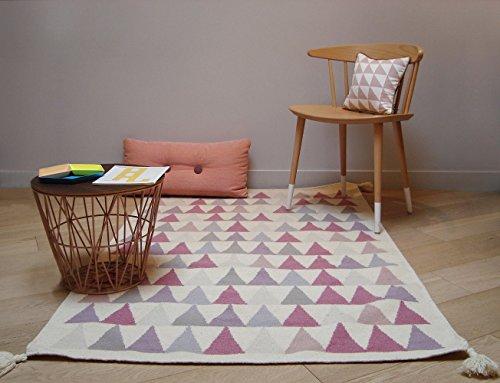 Art voor kinderen hoge kwaliteit Kilim tapijt-handgeweven 100% Virgin wol-mooi en duurzame-2 maten beschikbaar, roze