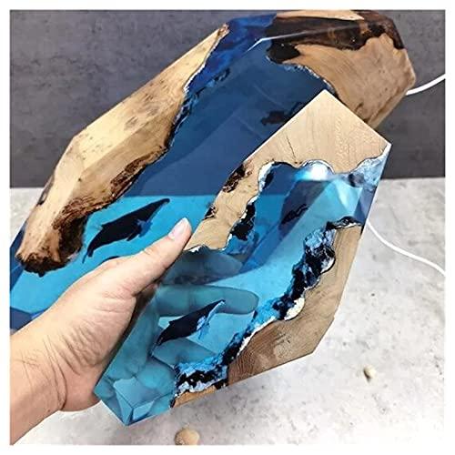 GOLOFEA Lámpara Ligera de Madera de Resina epoxi Grande LED Azul de buceador y luz epoxi de Ballena jorobada, decoración Artesanía Lámpara de Escritorio de Regalo Luz de noc