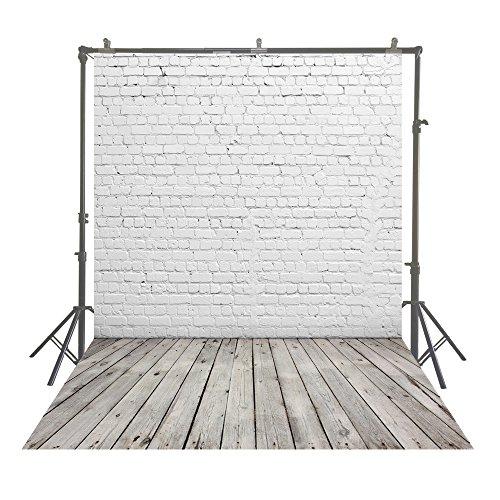 Muzi Telones de fondo para fotografía de pared de ladrillo blanco con fondo de madera para fotos de estudio, 150 x 220 cm, D-2504