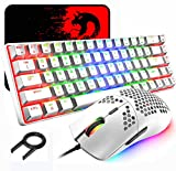 60% Mechanical Gaming Keyboard Blue Switch Mini 68 Keys Wired Type C 18 Backlight Effects + Lightweight RGB 6400DPI Honeycomb Optical Mouse + Large Mouse Pad For Gamers and Typists