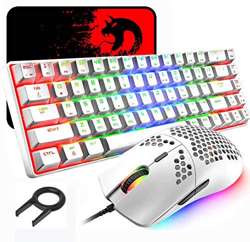 60% Teclado mecánico para Juegos Switch Azul iluminación RGB Ergonómica Mini 68 Teclas + Ratón Ligero Gaming RGB 6400DPI + Alfombrilla de ratón - Blanco