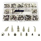 Mix Styles 140 Sets Screw Back Studs and Spikes Kit with Tools Silver Leather Craft Rivets...