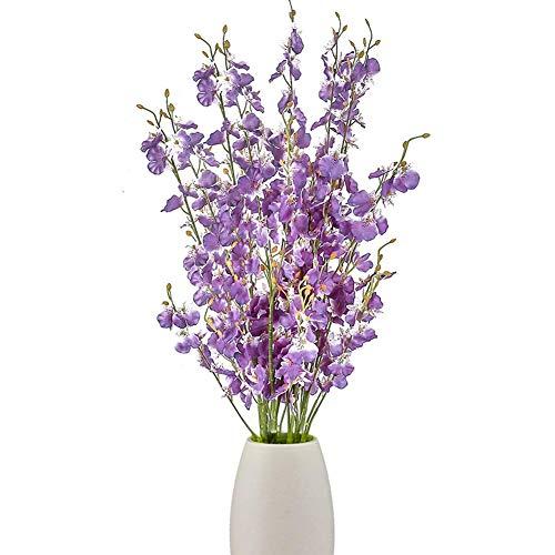 TTIK Kunstseide Phalaenopsis Blumen 16Stück Mit 5 Stück Blätter Künstliche Orchideenblüten Stängelpflanzen in Lila Gefälschter Schmetterling Phalaenopsis Blumen Für Dekor,Lila