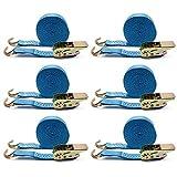 Forever Speed 6 x amarre trinquete correa tensora Cinta trincaje 6 m x 25 mm 800kg azul