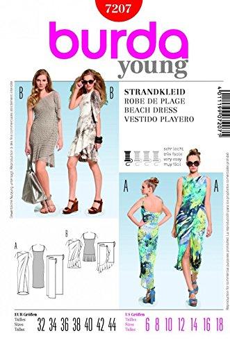 Burda dames gemakkelijk naaien patroon 7207 - Wrap strand jurken maten 6-18