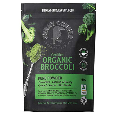 Broccoli Pure Organic Powder- Rich in Essential nutrients, Ideal for Smoothies, Juice and Cooking. Nutrient- Dense Raw Super Food Powder - Made in Australia 150 Grams.