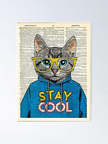 AZSTEEL Eyeglasses Cat Stay Cool Hello Sweet Have Seat Poster