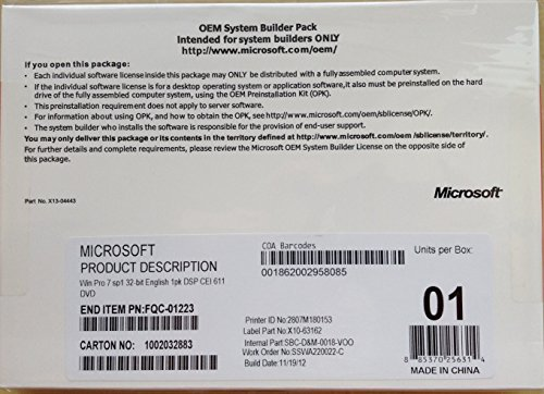 Microsoft Software Windows 7 Professional