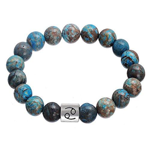 Lemegeton - Pulsera de piedra natural hecha a mano con 12 signos del zodiaco para hombre