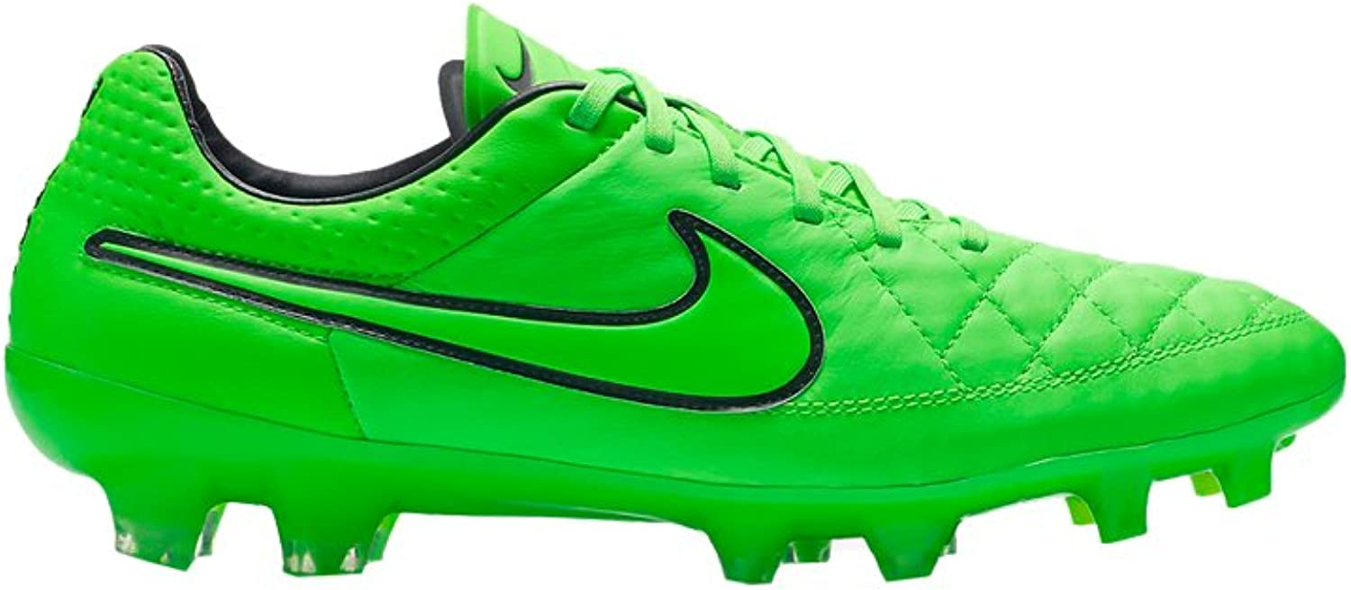 Nike Tiempo Legend V FG Mens Football Boots 631518 Soccer Cleats Firm Ground (US 4, Green Strike Black 330)