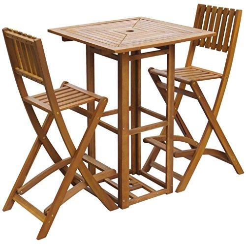 lingjiushopping Table haute et tabourets de jard ¨ ªn 3 pièces en bois d'acacia dimensions des chaises : 48 x 58 x 118 cm (largeur x profondeur x hauteur)