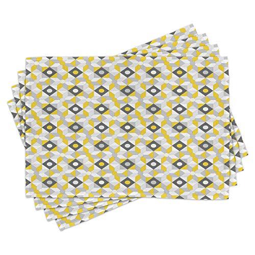 ABAKUHAUS Grå och gul bordstabletter, geometrisk retro 60-talet 70-talet inspirerade runda rutor bild, underlägg av tvättbart tyg bordsdekoration med tryck, antracit grå och ringblomma