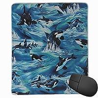マウスパッド 踊るクジラ ゲーミング オフィス最適 高級感 おしゃれ 防水 耐久性が良い 滑り止めゴム底 ゲーミングなど適用 マウスの精密度を上がる( 22*18*0.3cm )