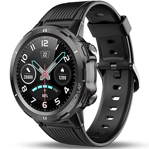 Vigorun Smart Watch for Android, iOS Phones, 1.3'' Full Touch Screen Fitness Tracker with Heart Rate Monitor, Sleep Tracker, Pedometer, 14 Days Battery Life, Waterproof Smartwatch for Mem Women Black