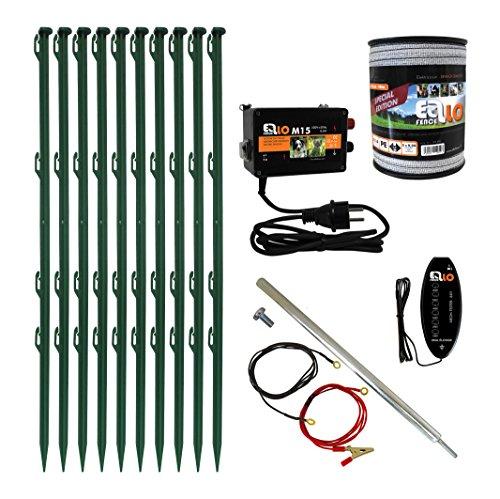 Ellofence Weidezaun Set Weidezaungerät, 10 grünen Pfählen, 200m Weidezaunband und Tester