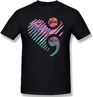 MOUNTS Semicolon Mental Health Awareness Printed Design Fashion Short Sleeve T Shirt