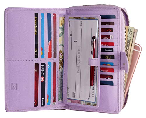 Mou Meraki Women RFID Blocking Real Leather Wallet-Clutch For Women-Shield Against Identity Theft (LAVENDER)