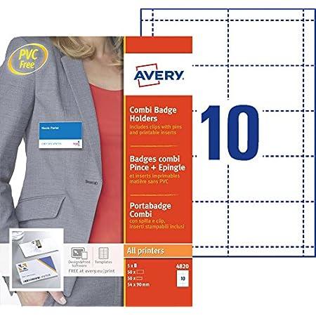 AVERY - Boite de 50 porte-badges combi pince + épingle en plastique souple transparent, 50 inserts imprimables fournis, Format 90 x 54 mm, Impression laser / jet d'encre, (4820)