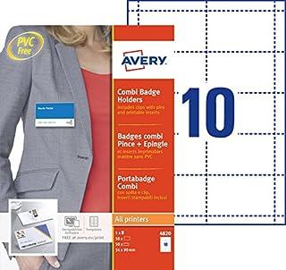AVERY - Boite de 50 porte-badges combi pince + épingle en plastique souple transparent, 50 inserts imprimables fournis, Fo...