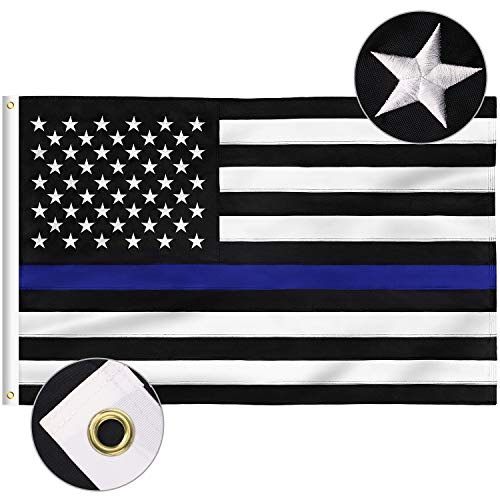 FLAGBURG Thin Blue Line Flag, U.S. Flag with Thin Blue Line 3x5 FT, Durable 100% Recyclable Nylon Flag with Embroidered Stars and Sewn Stripes,Outdoor Indoors Fallen Officer Flag with Brass Grommets