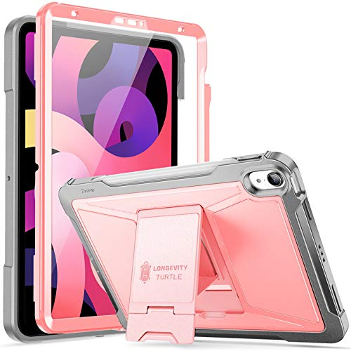 ZtotopCase for New iPad 10.9 Inch 2020/ iPad Air 4th Generation Case, Built-in Screen Protector, Dual Layer Shockproof Full Protective Cover with Pencil Holder, Support Apple Pencil 2 Charging- Pink