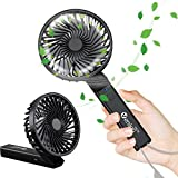 VersionTECH. Handheld Fan, Small Mini Desk Portable Personal Table Folding Electric Fan with USB Rechargeable Battery Operated Fan for Travel Room Office Outdoor Sport Household Camping Black