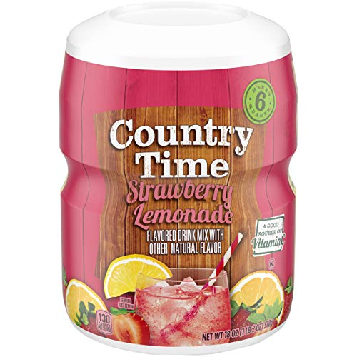Country Time Strawberry Lemonade Drink Mix, Caffeine Free, 18 oz Jar (Pack of 6)