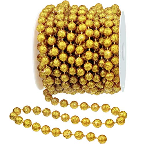 26 Feet Christmas Tree Glitter Beads Garland Plastic Pearl Strands Chain for Xmas Tree DIY Decoration Supplies and Holiday Decorations (Gold)
