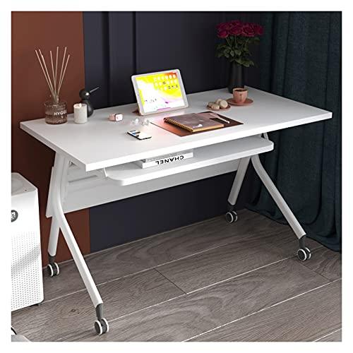 Mesa de Ordenador Escritorio plegable móvil Oficina simple ORDENADOR PERSONAL Escritorio con ruedas de bloqueo silencioso Estudio compacto Mesa de escritura con estantes de almacenamiento, 2 colores E