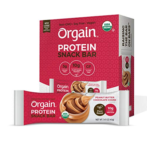 Orgain Organic Plant Based Protein Bar Peanut Butter Chocolate Chunk  Vegan Gluten Free Non Dairy Soy Free Lactose Free Kosher NonGMO 141 Ounce 12 Count  Packaging May Vary