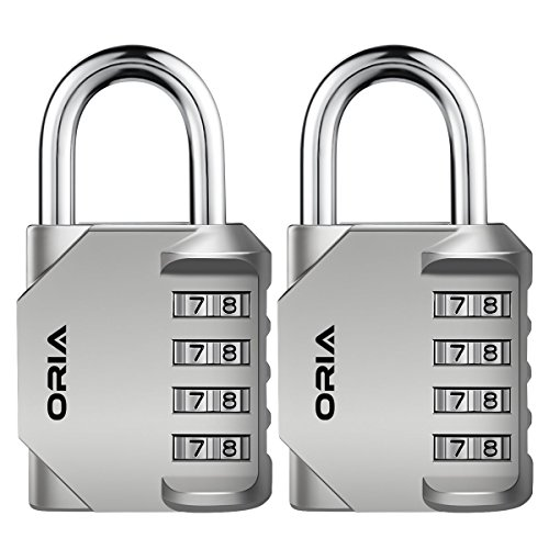 Oria 2 Pack Combination Padlocks, 4 Digit School Gym Lockers, Resettable Security Locks, Steel Anti Rust and Waterproof for School, Gym & Employee, Case, Sport Locker, Toolbox and Storage etc. - Black