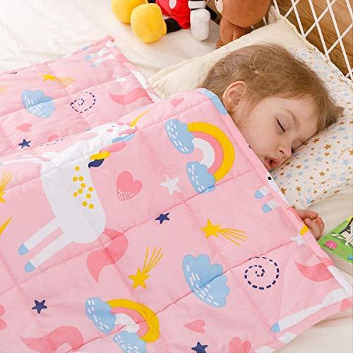 BUZIO Kinder Gewichtsdecke 105 x 150cm 3.2 kg, Weiße Alphabet Gewichtsdecke für Kinder und Teenager, Beschwerte Decke aus 100% natürlicher atmungsaktiver Baumwolle, Toll zum Beruhigen und Schlafen