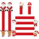 ZAWAGIIK Christmas Refrigerator Handle Covers Set of 8, Santa Claus Refrigerator Door Handle Protector Kitchen Appliance Handle Covers Christmas Kitchen Decor and Accessories for Fridge Microwave Oven