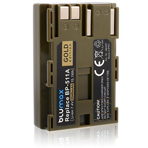 Batería Blumax edicón ORO BP-511 / BP-511A compatible con diversos modelos de cámaras digitales de Canon EOS 5D/ 10D/ 20D/ 300D/ 30D/ 40D/ 50D 2040mAh 7,4V 15,1Wh más capacidad que la batería original