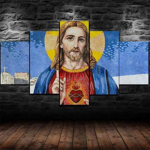 Murosn 5 Piezas Imagen Hogar Oficina Creativo Grande Formato Cuadros En Lienzo Moderno Pintura Decorativa Regalo Sagrado Corazon De Jesus 100x55cm-Marco
