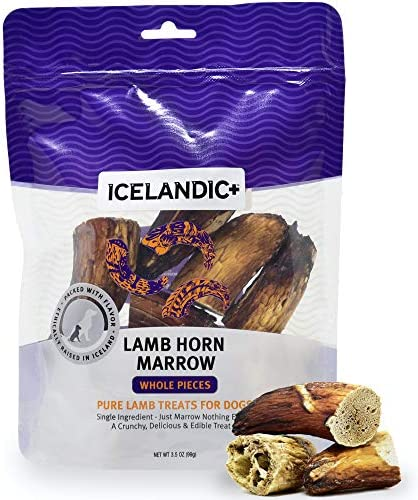 Icelandic All Natural Dog Chew Treats Lamb Horn Marrow Whole Pieces 4 5 oz product image