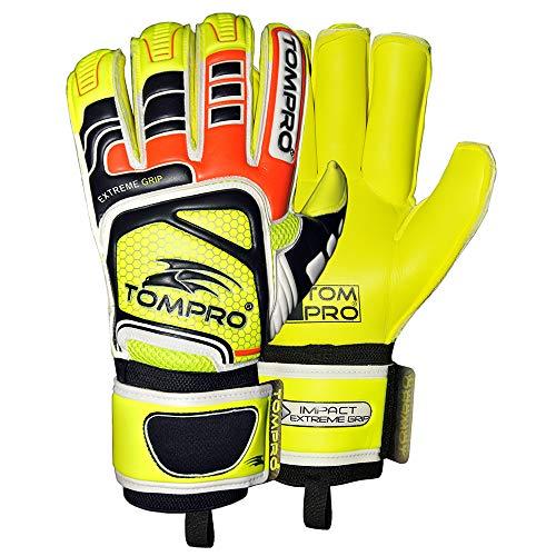 Tom Pro Extreme Grip Roll Finger - Guantes de portero para adultos, color amarillo fluorescente, negro, naranja fluorescente, plata, talla 8