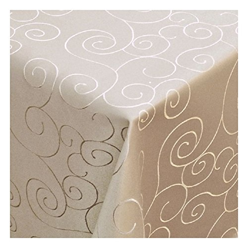 MODERNO Tischdecke Damast mit Saum im Ornamentedesign - Eckig Oval und Rund in Premiumqualität- Größe und Farbe wählbar ECKIG 80x80 cm in Chamapagner