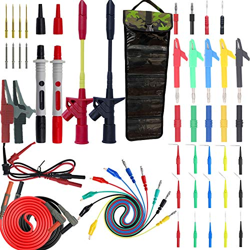 Testeronics 54-in-1 Multimeter Test Probe and Test Lead Kit for Electronic Specialties Automotive  Heavy Duty Puncture Probe Wire-Piercing Test Clips   Multi-Type Back Probe Set   Alligator Clips