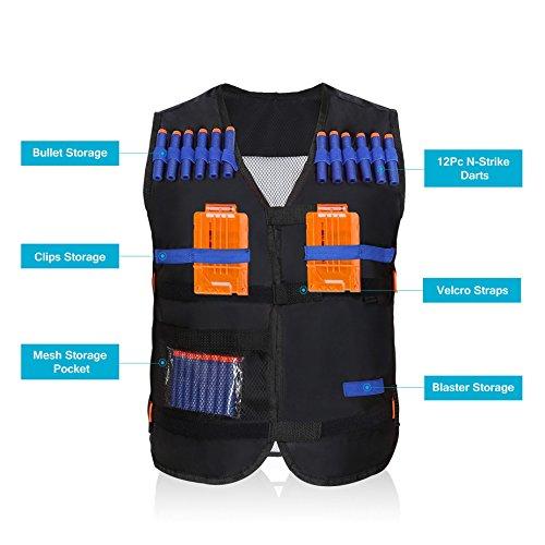 Yosoo Kids Elite Tactical Vest with 20 Pcs Soft Foam Darts for Nerf Gun N-strike Elite Series ( 2 Clips Not Included )