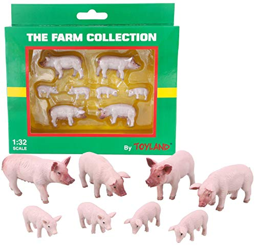 Toyland® Packung mit 8 großen weißen Schweinen und Ferkeln im Maßstab 1:32 Tierfiguren - The Farm Collection - Sammlerfiguren