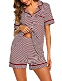 Ekouaer Womens 2 Piece Classic Cotton Long Sleeve Button-Down Soft Striped Pajama Set (Wine Red Striped M)