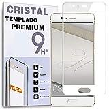 REY Protector de Pantalla Curvo para Huawei P10 Plus, Blanco, Cristal Vidrio Templado Premium, 3D / 4D / 5D