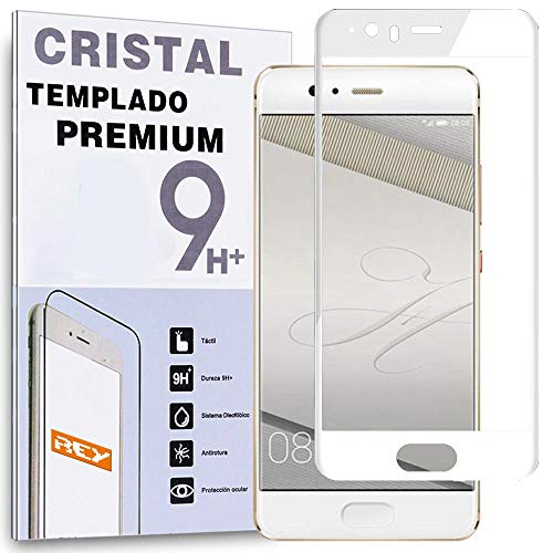 REY Protector de Pantalla Curvo para Huawei P10 Plus, Blanco, Cristal Vidrio...